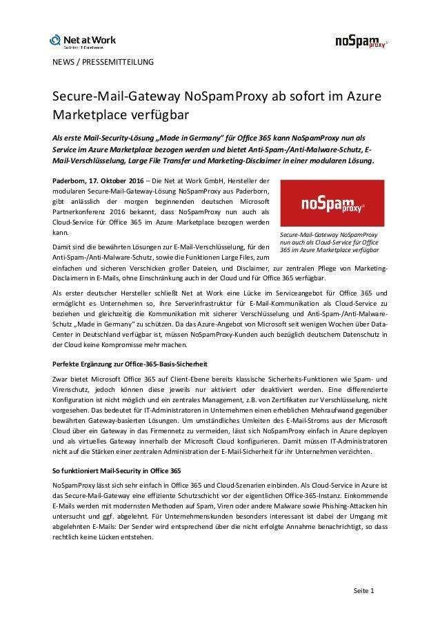 NEWS/PRESSEMITTEILUNG   Seite1 Secure-Mail-GatewayNoSpamProxyabsofortimAzure Marketplaceverfügbar Alserste...