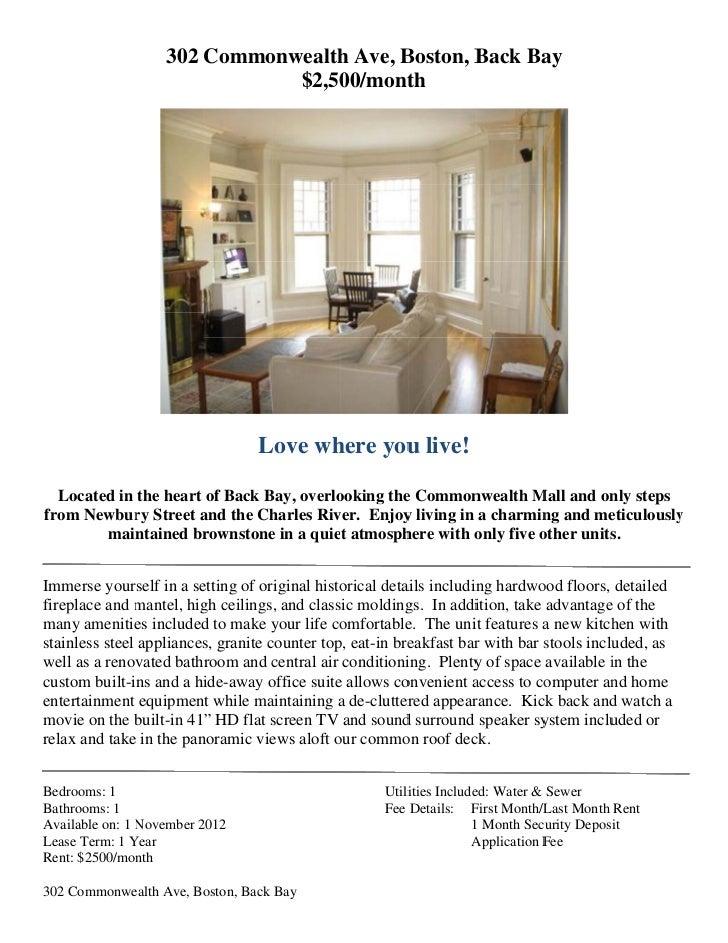 302 Commonwealth Ave Rental