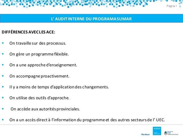 Página 1 L' AUDITINTERNE DU PROGRAMASUMAR DIFFÉRENCES AVECLESACE:  On travaille sur des processus.  On gère un programme...