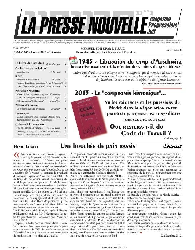 La Presse Nouvelle Magazine N°302  janvier 2013