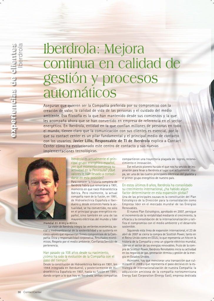 Iberdrola: Mejora continua en calidad de gestión y procesos automáticos