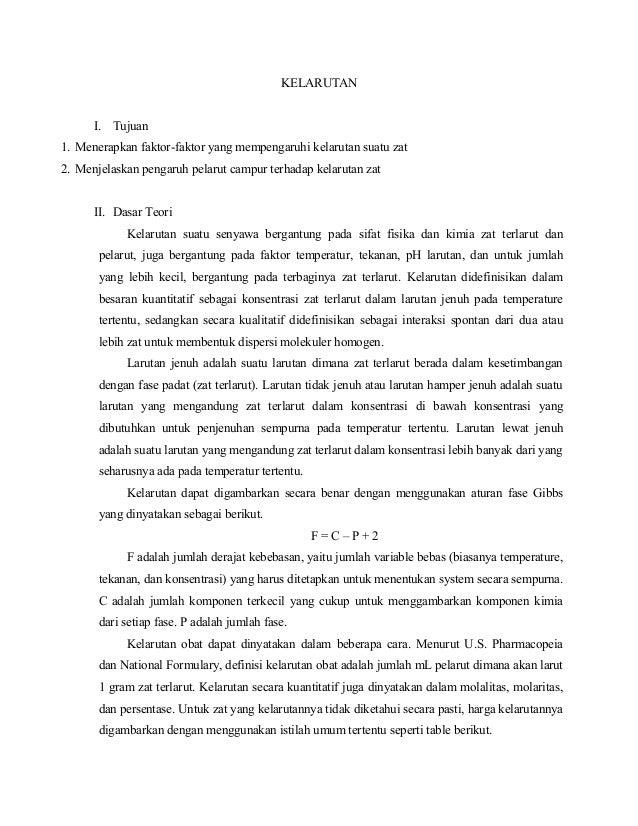 KELARUTAN I. Tujuan 1. Menerapkan faktor-faktor yang mempengaruhi kelarutan suatu zat 2. Menjelaskan pengaruh pelarut camp...