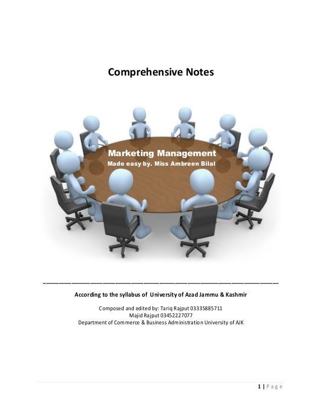 Marketing management notes of mba