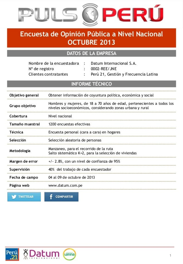 Encuesta de Opinión Pública a Nivel Nacional OCTUBRE 2013