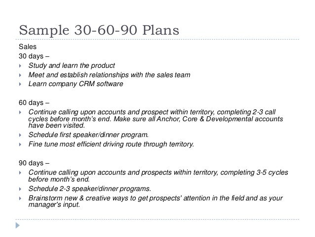 Sample 30 60 90 Day Sales Plan Sample 30-60-90 Plans Sales 30