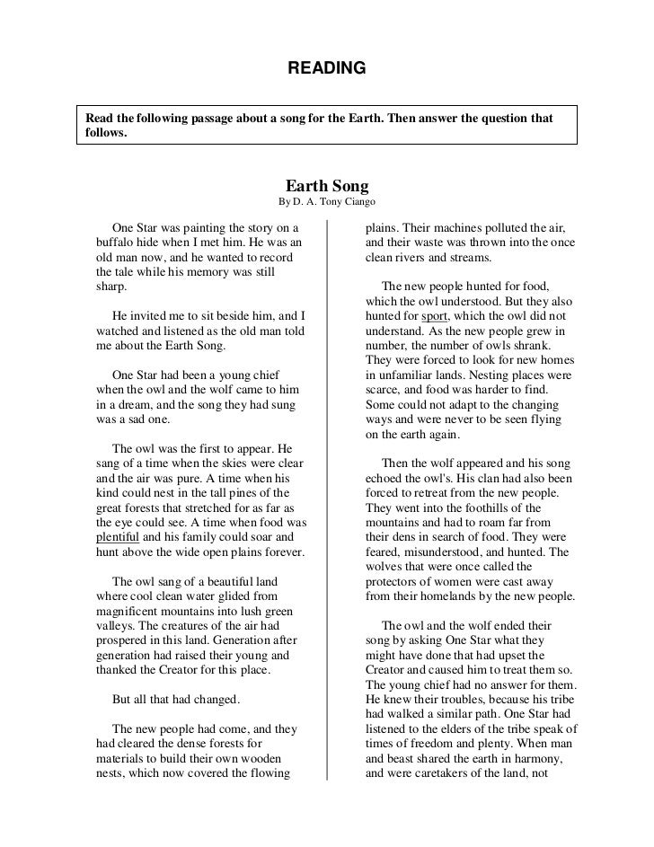 READINGRead the following passage about a song for the Earth. Then answer the question thatfollows.                       ...
