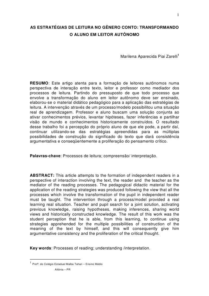 1  AS ESTRATÉGIAS DE LEITURA NO GÊNERO CONTO: TRANSFORMANDO                                 O ALUNO EM LEITOR AUTÔNOMO    ...