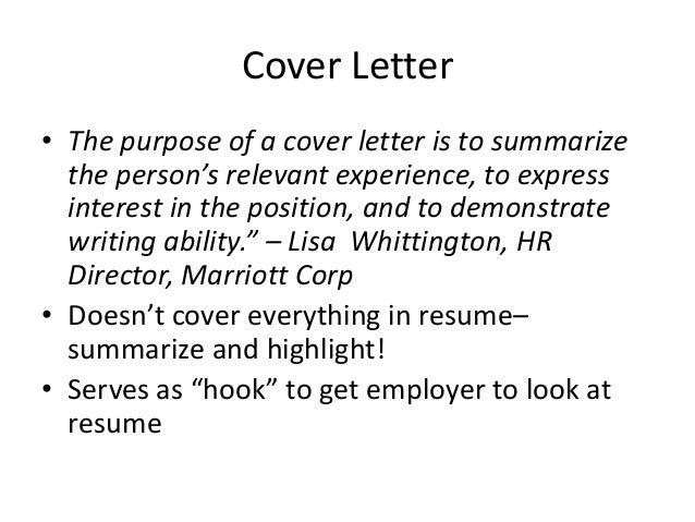 purpose of a covering letter