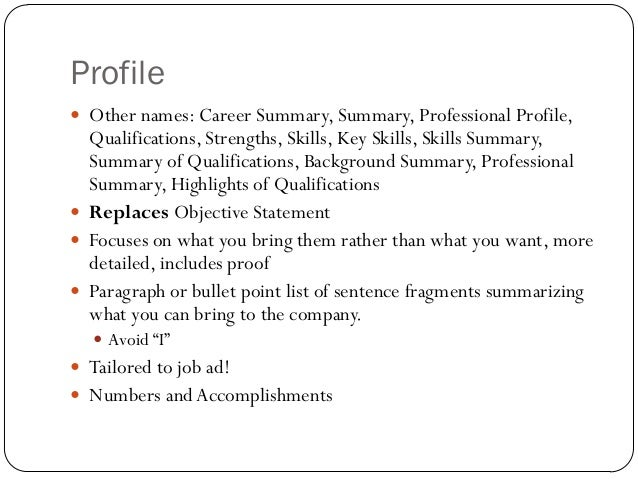 resume help professional profile