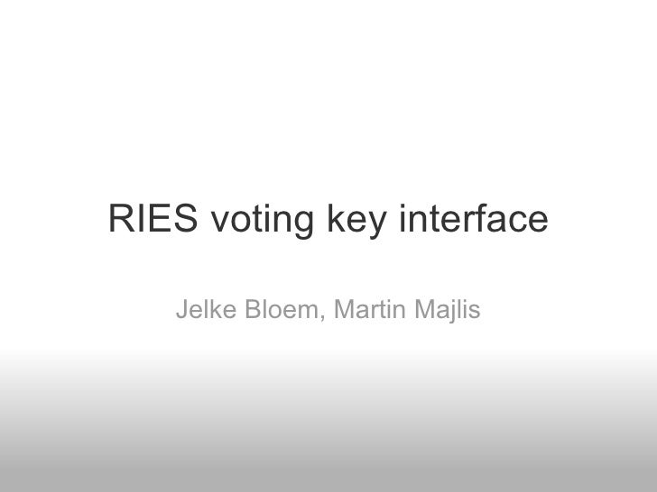 RIES voting key interface Jelke Bloem, Martin Majlis