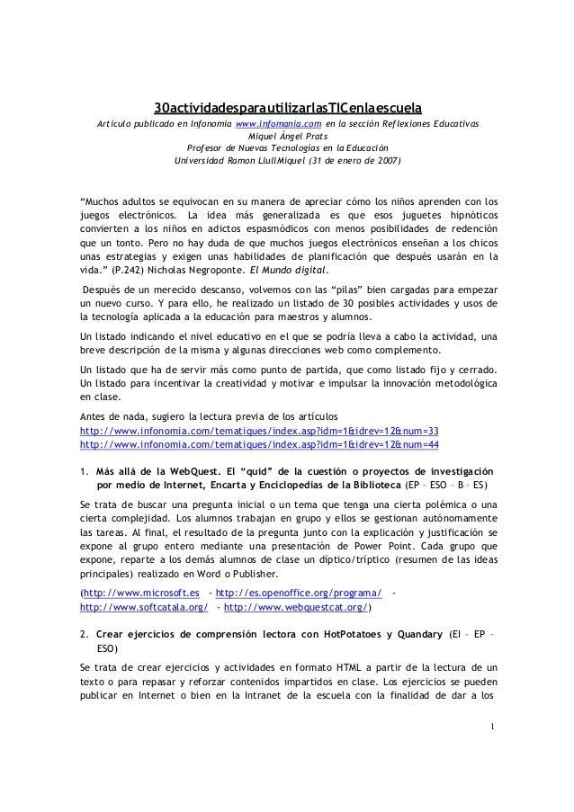 130actividadesparautilizarlasTICenlaescuelaArtículo publicado en Infonomia www.infomania.com en la sección Reflexiones Edu...