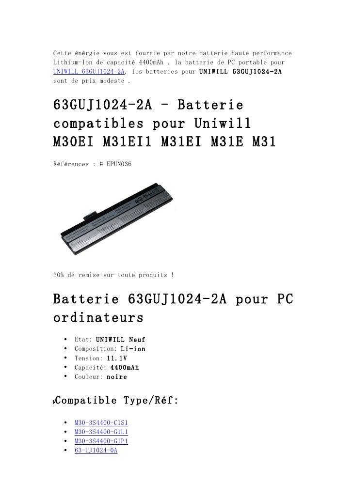 Cette énèrgie vous est fournie par notre batterie haute performanceLithium-Ion de capacité 4400mAh , la batterie de PC por...
