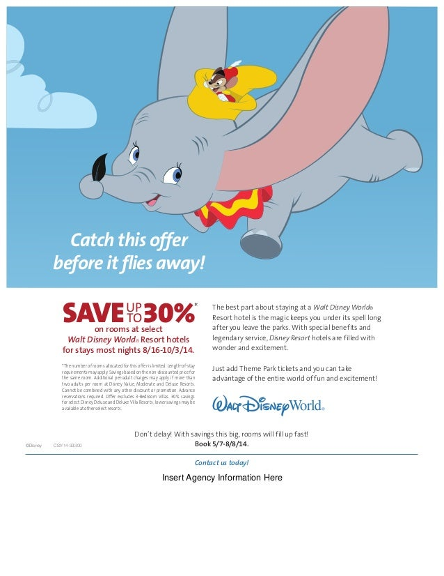 Catch this offer before it flies away! on rooms at select Walt Disney World® Resort hotels for stays most nights 8/16-10/3...