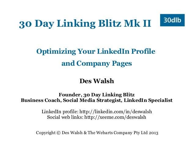 LinkedIn Profile and Company Page - #30DLB2
