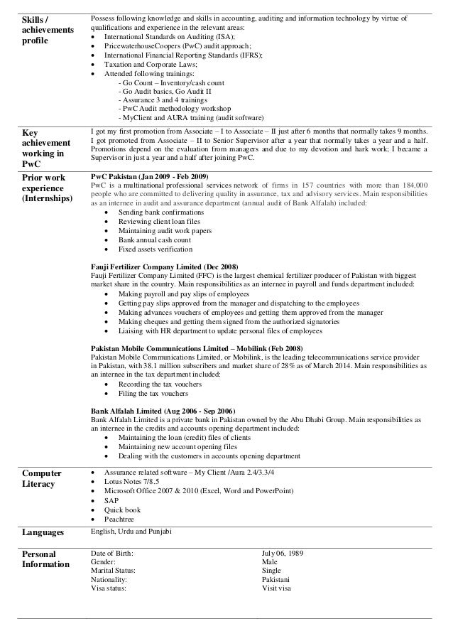 Pwc Audit Intern Resume Example Arthur J Kpmg