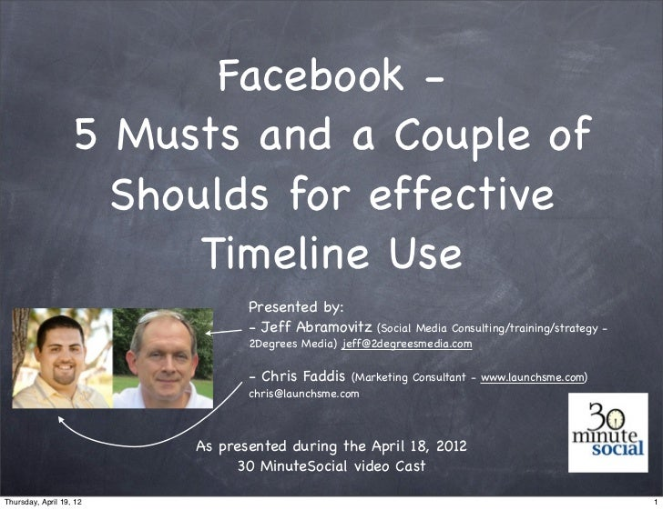Facebook -                   5 Musts and a Couple of                     Shoulds for effective                         Tim...