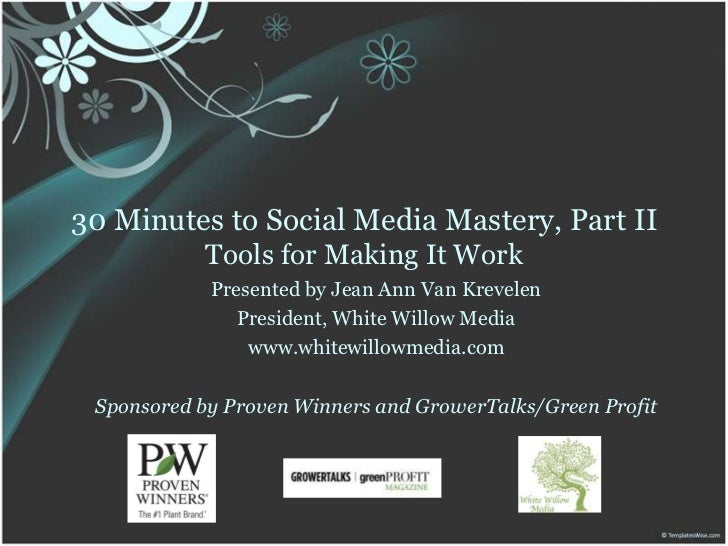 30 Minutes to Social Media Mastery, Part IITools for Making It Work<br />Presented by Jean Ann Van Krevelen<br />President...