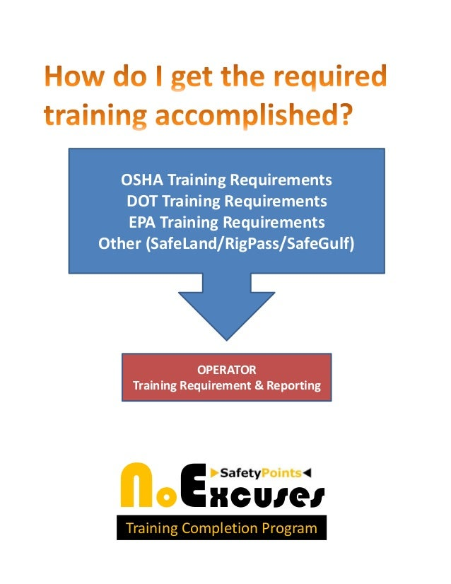 OSHA Training Requirements   DOT Training Requirements   EPA Training RequirementsOther (SafeLand/RigPass/SafeGulf)       ...