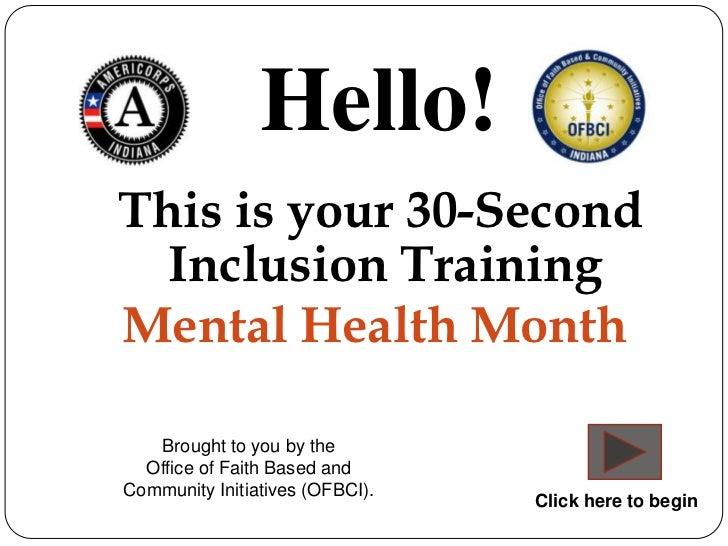 30 sec inclusion training - Mental Health Month
