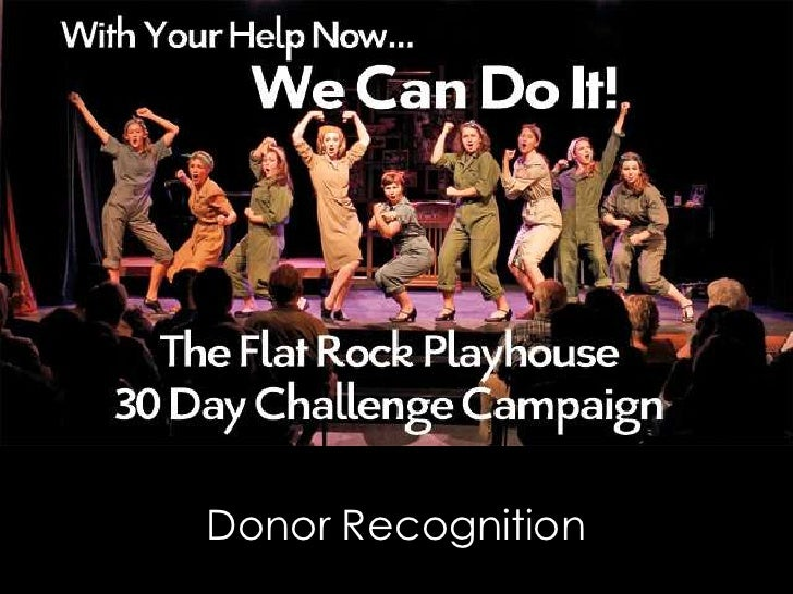Flat Rock Playhouse 30 Day Challenge Donor Recognition