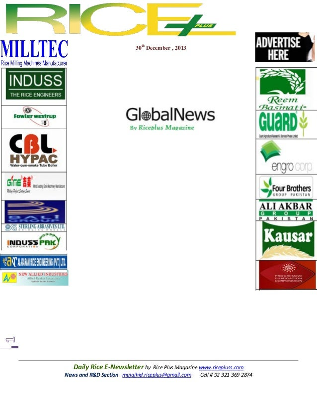 30th December , 2013  Daily Rice E-Newsletter by Rice Plus Magazine www.ricepluss.com News and R&D Section mujajhid.ricepl...