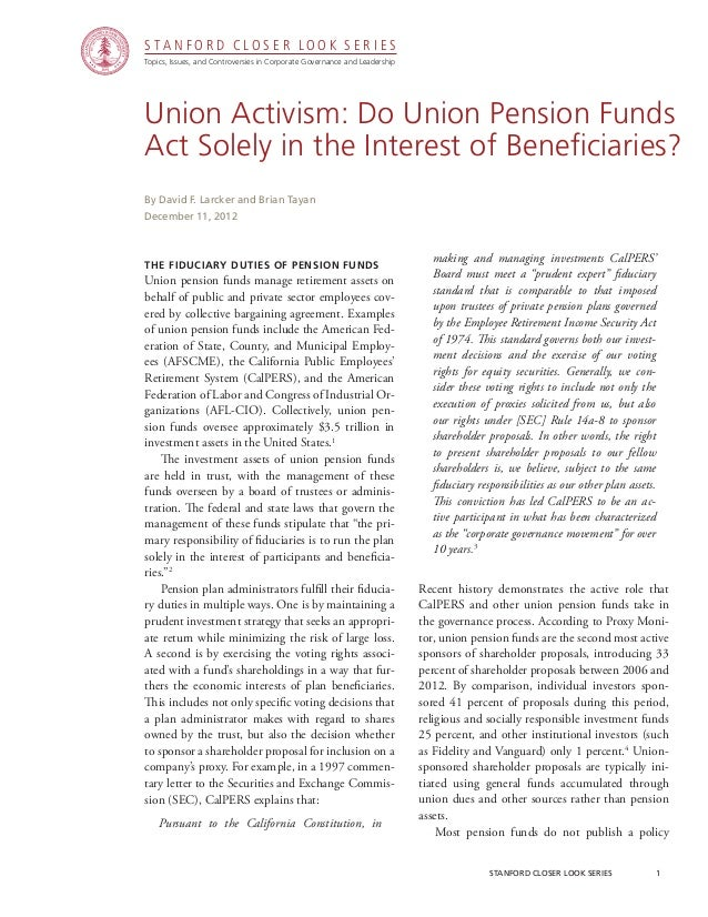 CGRP-30 Union Activism: Do Union Pension Funds Act Solely in the Interest of Beneficiaries?