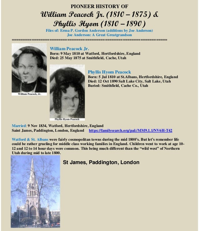William Peacock & Phyllis Hyom