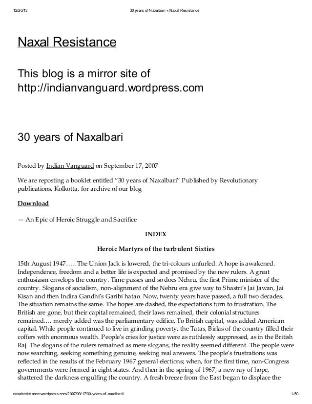 12/20/13  30 years of Naxalbari « Naxal Resistance  Naxal Resistance This blog is a mirror site of http://indianvanguard.w...