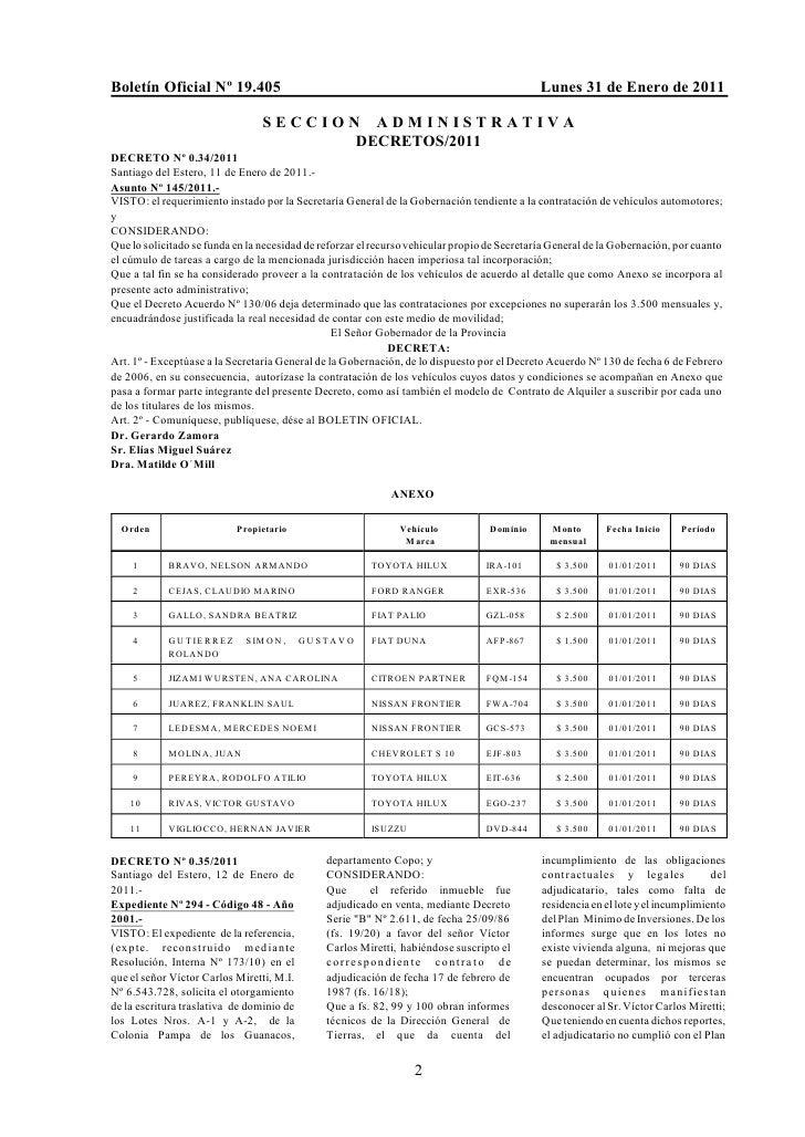 Boletín Oficial Nº 19.405                                                                    Lunes 31 de Enero de 2011    ...