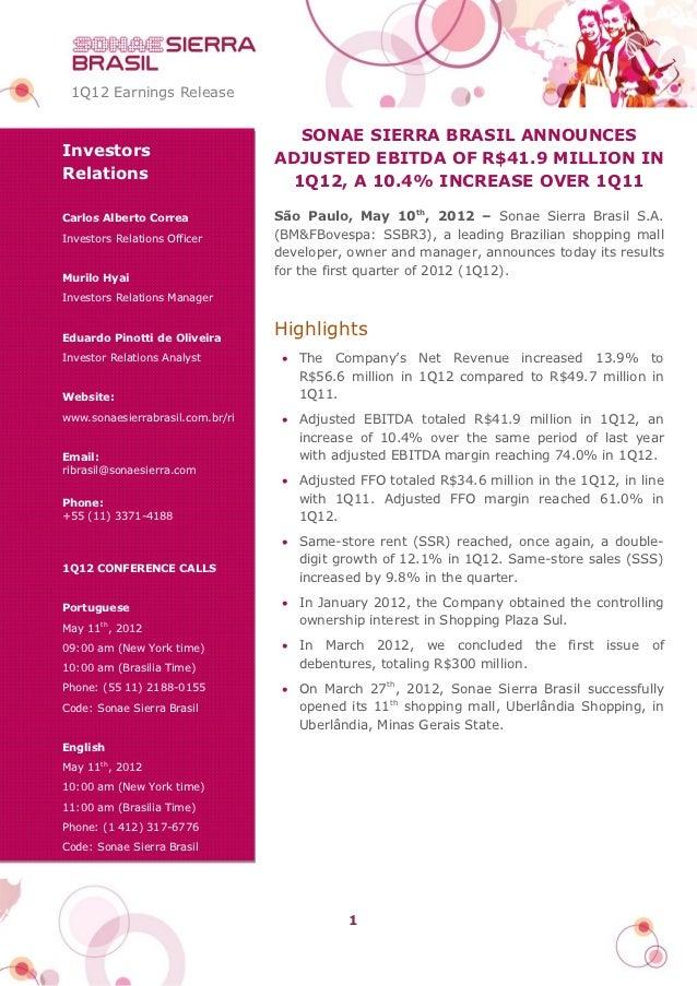 1Q12 Earnings Release                                    SONAE SIERRA BRASIL ANNOUNCESInvestors                         AD...