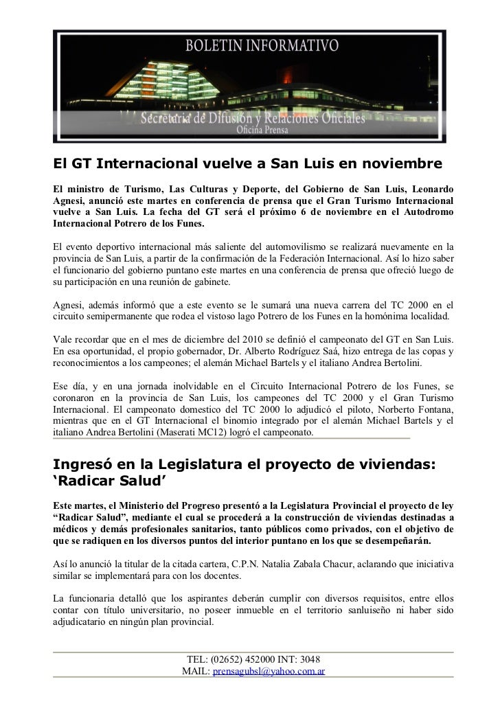 El GT Internacional vuelve a San Luis en noviembreEl ministro de Turismo, Las Culturas y Deporte, del Gobierno de San Luis...