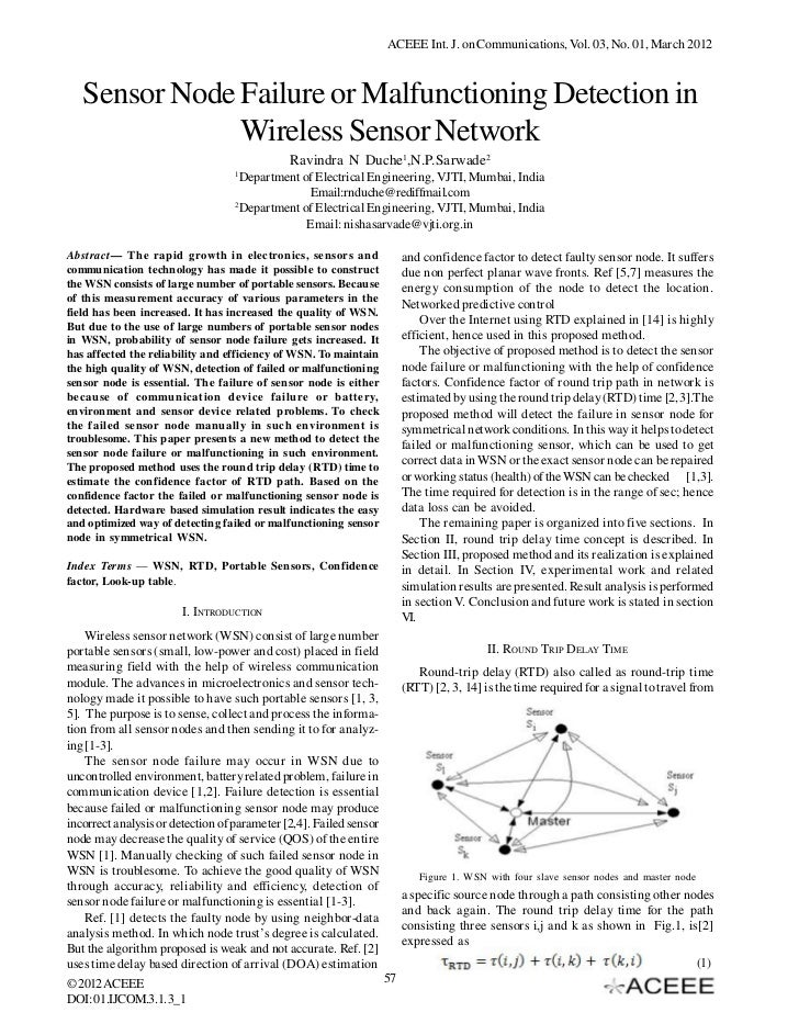 ACEEE Int. J. on Communications, Vol. 03, No. 01, March 2012   Sensor Node Failure or Malfunctioning Detection in         ...
