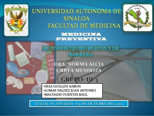 31. Métodos Quirúrgicos y de Barrera (09-Oct-2013)
