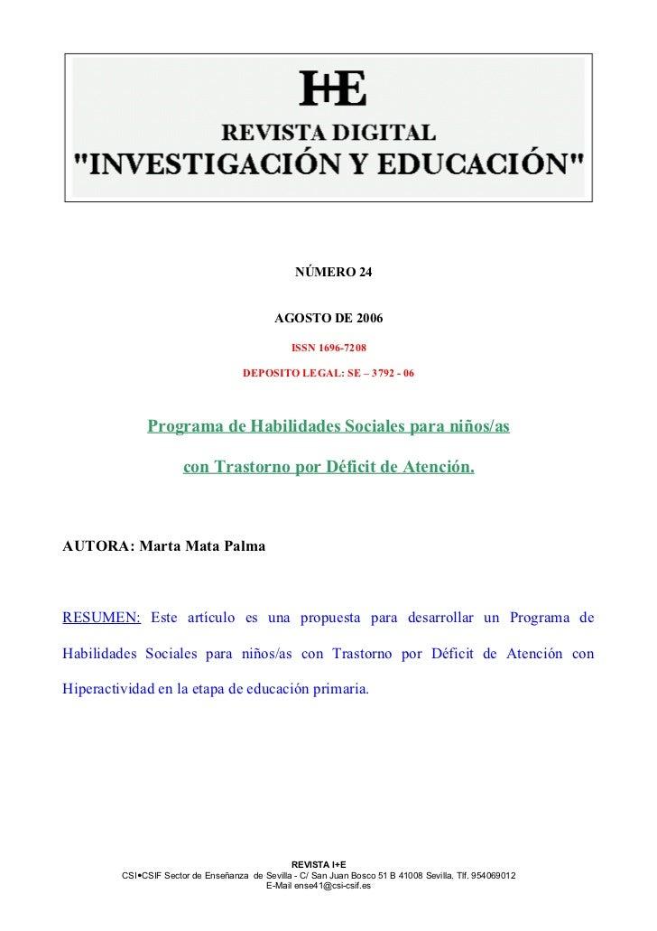 NÚMERO 24                                             AGOSTO DE 2006                                                 ISSN ...
