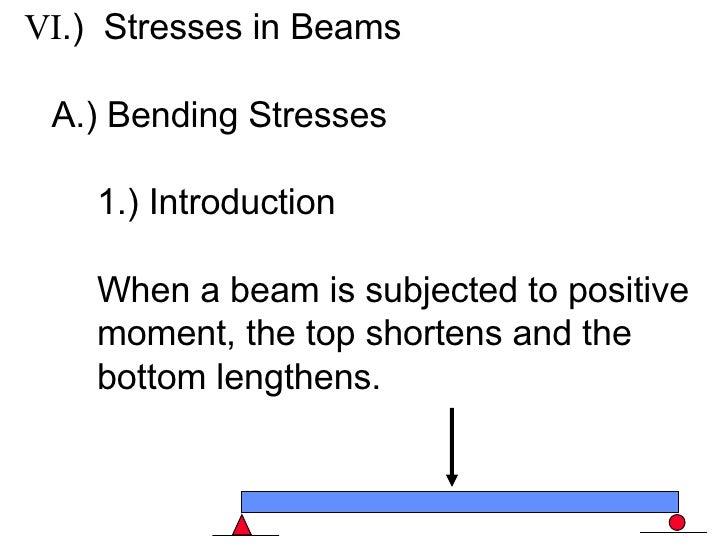 <ul><li>VI .)  Stresses in Beams </li></ul><ul><li>A.) Bending Stresses </li></ul><ul><li>1.) Introduction </li></ul><ul><...