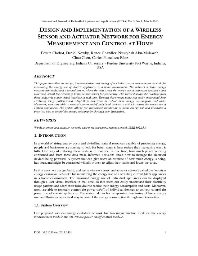 DESIGN AND IMPLEMENTATION OF A WIRELESS SENSOR AND ACTUATOR NETWORK FOR ENERGY MEASUREMENT AND CONTROL AT HOME