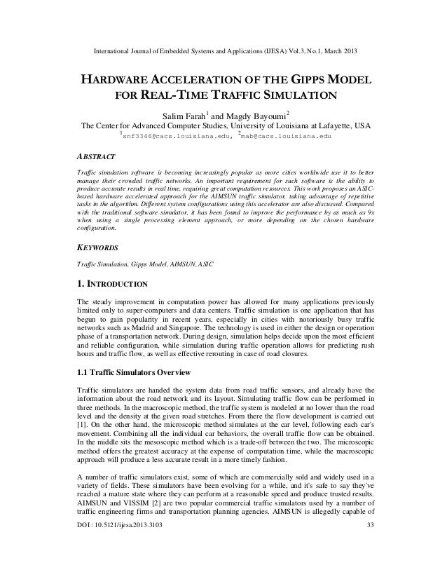 HARDWARE ACCELERATION OF THE GIPPS MODEL FOR REAL-TIME TRAFFIC SIMULATION