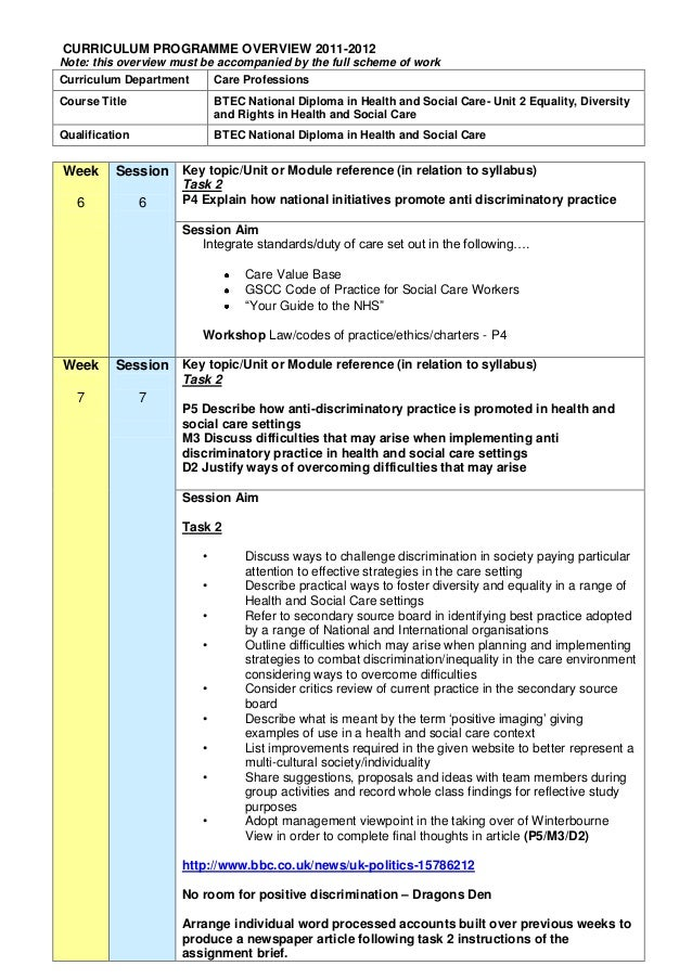 unit 2 equality and diversity p2 Unit 2 equality, diversity and rights p1  unit 2 - equality&comma diversity and rights in health and social care  essay free also available in bundle from £2000 download  unit 2 p2 btec health and social care level 3 equality and diversity 2 presentation.