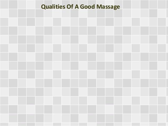 Qualities Of A Good Massage