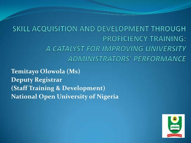 312 - International - Skill Aquisition and Development through Proficiency Training