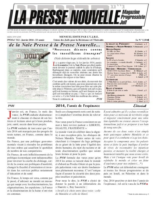 Presse Nouvelle Magazine N°312 janvier 2014