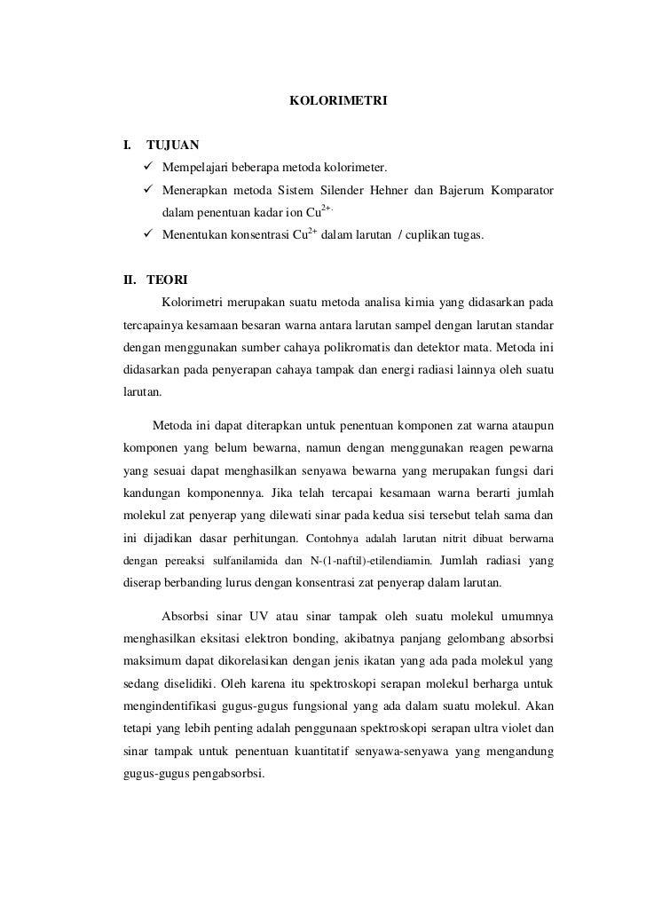 KOLORIMETRII.   TUJUAN      Mempelajari beberapa metoda kolorimeter.      Menerapkan metoda Sistem Silender Hehner dan B...