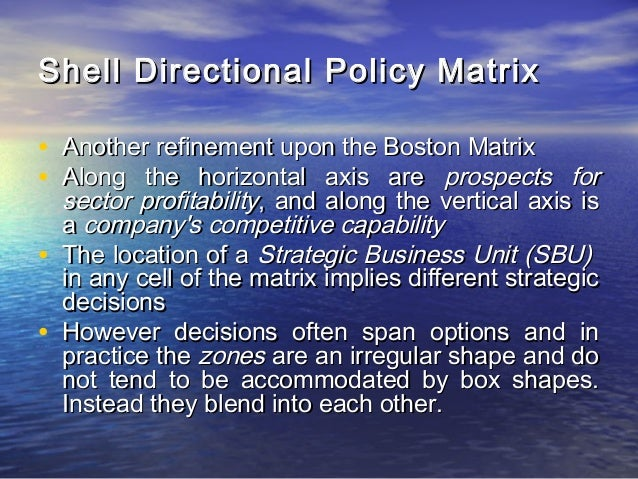 advantage and disadvantage shell s directional policy matrix