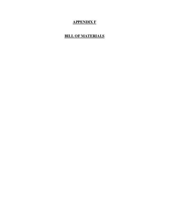 APPENDIX F BILL OF MATERIALS