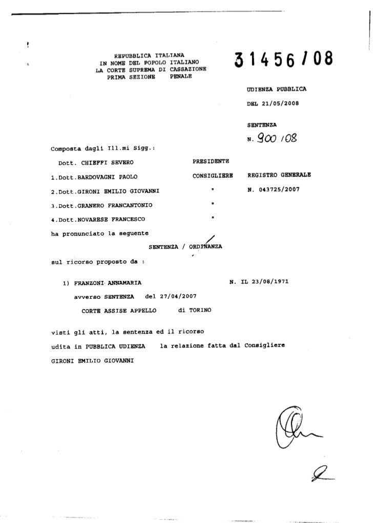 Annamara Franzoni: Il pdf con le motivazioni della sentenza della Corte di Cassazione