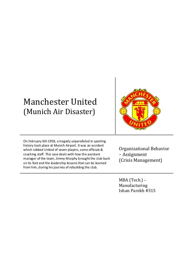 Crisis Management - Manchester United (Munich Air Disaster)