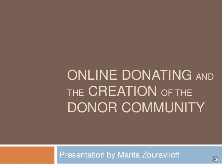 Online Donating and the Building of Donor Communities