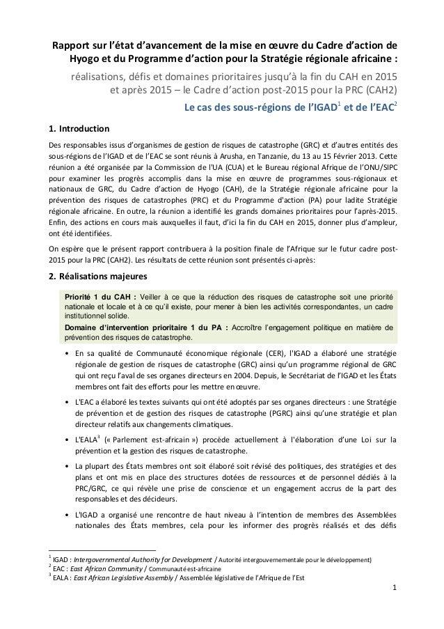 1  Rapport sur l'état d'avancement de la mise en oeuvre du Cadre d'action de Hyogo et du Programme d'action pour la Straté...