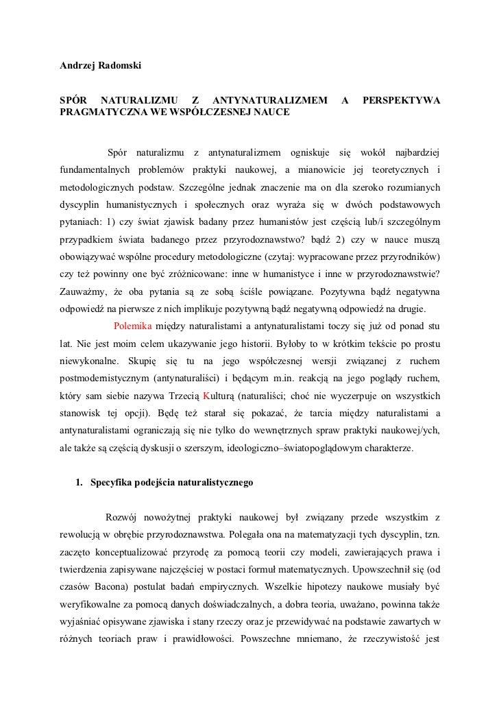 Andrzej RadomskiSPÓR NATURALIZMU Z ANTYNATURALIZMEM                               A    PERSPEKTYWAPRAGMATYCZNA WE WSPÓŁCZE...