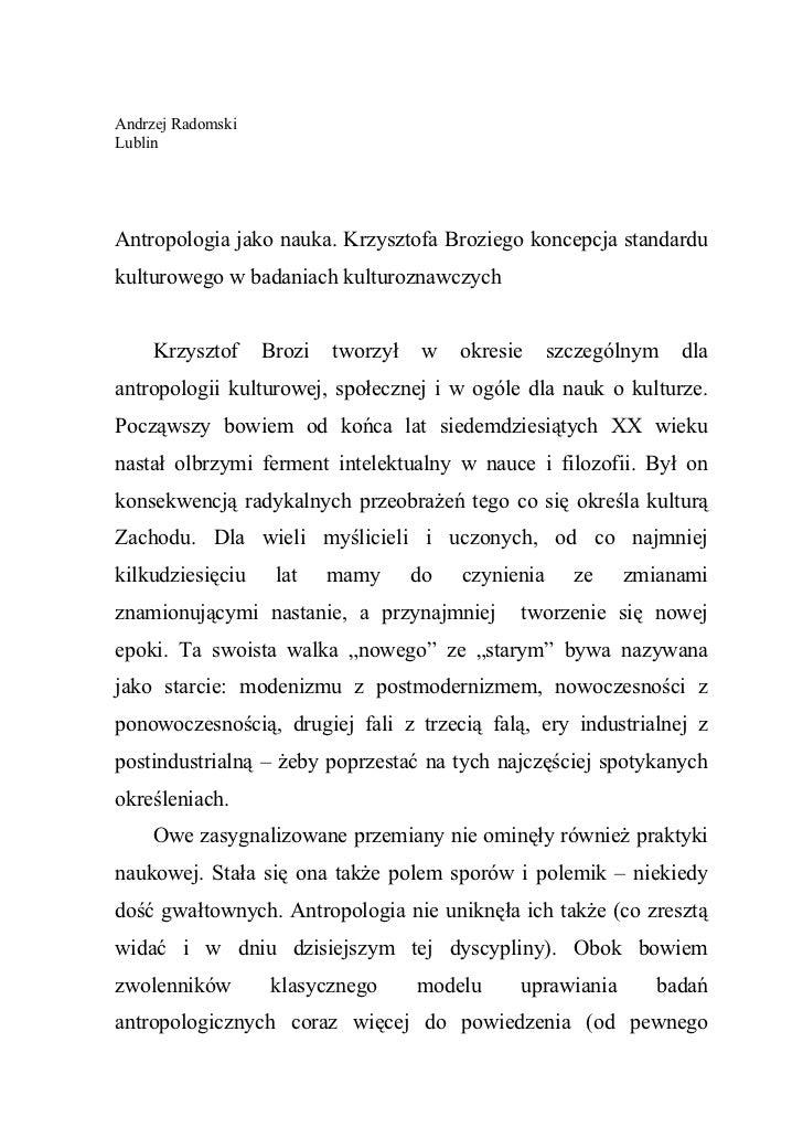 Andrzej RadomskiLublinAntropologia jako nauka. Krzysztofa Broziego koncepcja standardukulturowego w badaniach kulturoznawc...